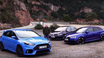 """Ford Focus RS"" prieš ""Audi RS3"" ir ""VW Golf R"""