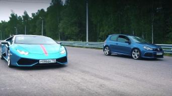 VW Golf prieš Lamborghini Huracan